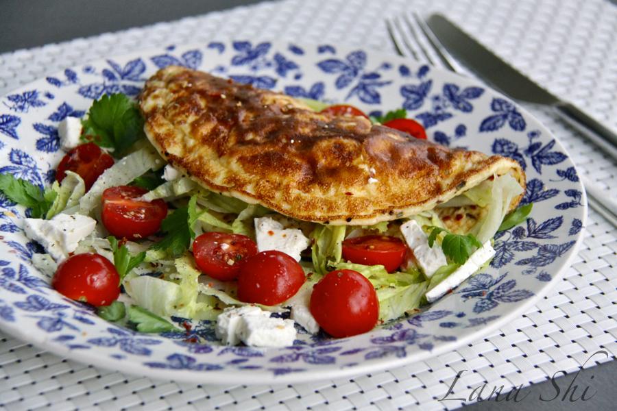 Омлет с овощами и сыром!