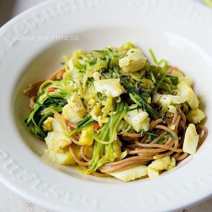 Цельнозерновые спагетти с треской и овощами!